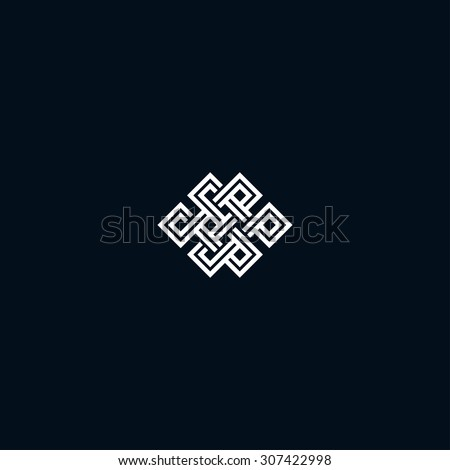 Infinite knot symbol on black - stock vector