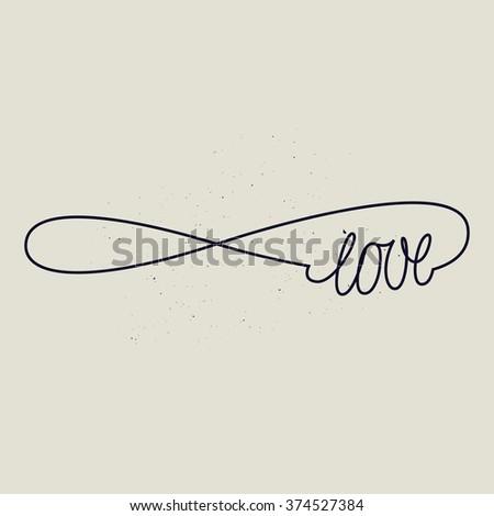 infinite love sign. forever line sign. black and white. - stock vector