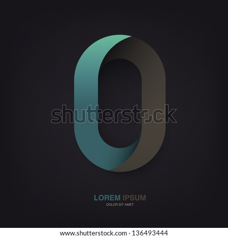Infinite oval symbol template on dark lines texture, vector, EPS10 - stock vector