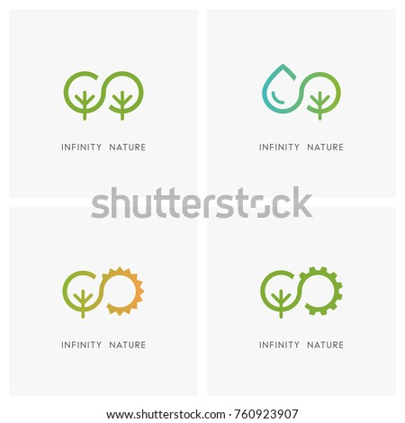 Infinity and nature logo set. Green tree, drop of water, the sun and gear wheel - ecology and environment, agriculture and industry icons.