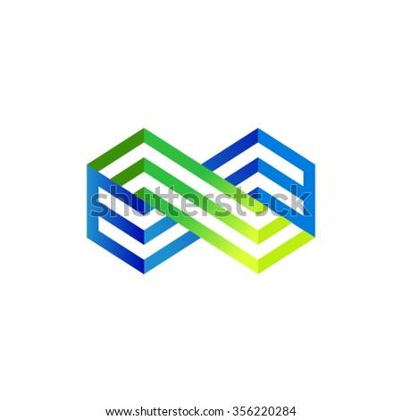 Infinity flat concept logo template. - stock vector