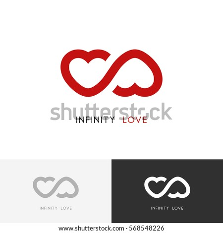 Infinity Love Logo Two Red Hearts Stock Vector 568548226 Shutterstock