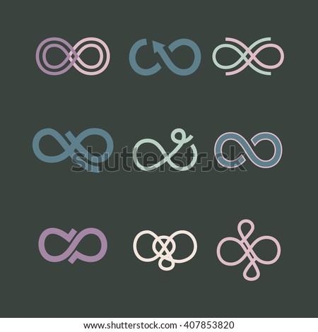 Infinity symbol icons set. Vector illustration eps10 - stock vector
