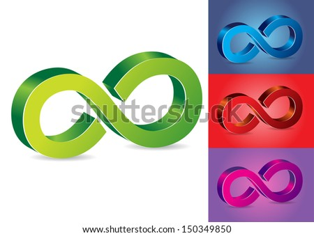 Infinity Symbol Vector Illustration in Different Colors - stock vector