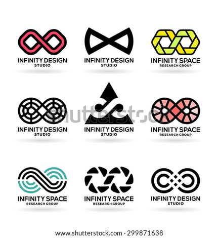 Infinity symbols (5) - stock vector