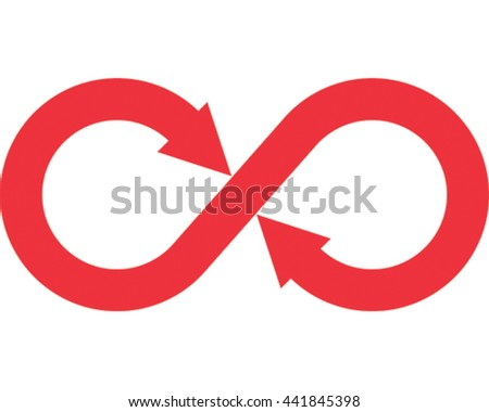 Infinity Vector Illustration. Red Arrow Eternity Symbol Icon.  - stock vector