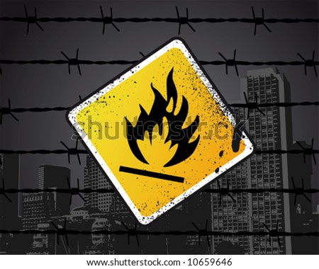 Inflammable Sign Vector Illustration - stock vector