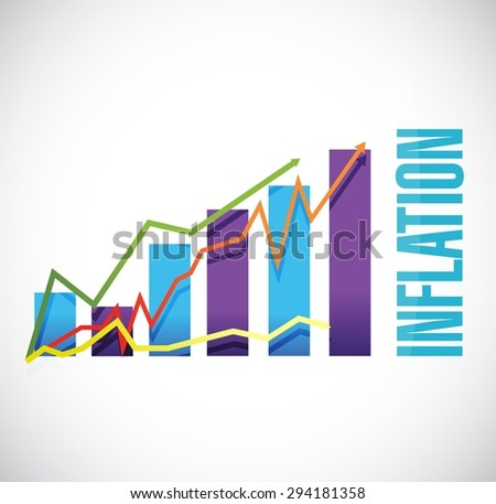 inflation business graph sign concept illustration design graphic - stock vector