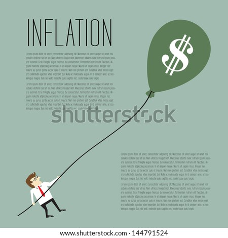 Inflation, Businessman pulling a dollar sign balloon - stock vector