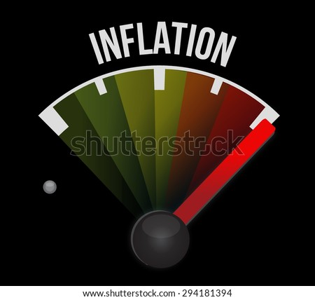 inflation speedometer sign concept illustration design graphic - stock vector