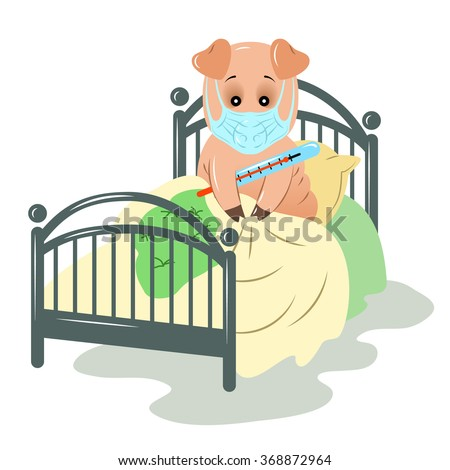 Influenza pig in a medical mask sitting on the bed, and measures the temperature. Swine flu. - stock vector