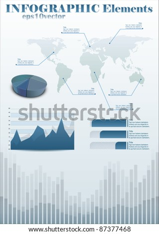 info-chart template with world map and diagrams - stock vector