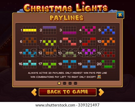 Info for slots game. Vector illustration