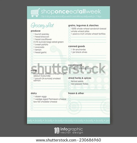 info graphic background - organizer - shopping list - stock vector