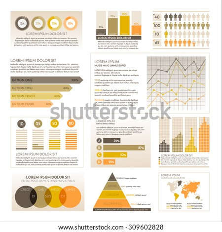 Info graphic collection. Charts, symbols, graphic vector elements
