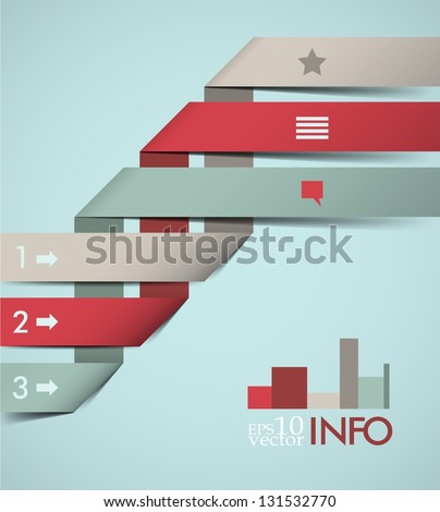 Info graphic design, paper sticks, template - stock vector