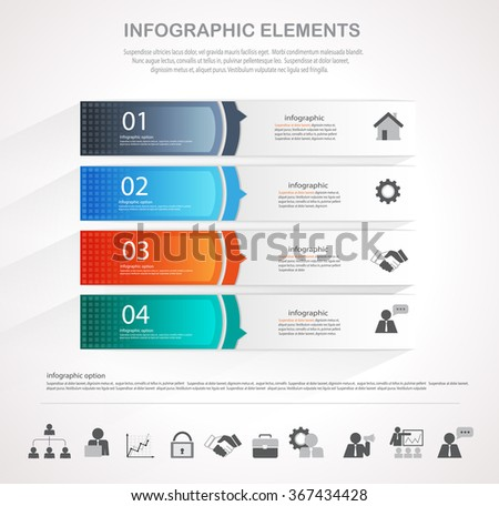 Info graphic design template and business icons set. Template for diagram, graph, chart, flyer, presentation, print and website. Business and finance concept options, parts, steps  data visualization. - stock vector