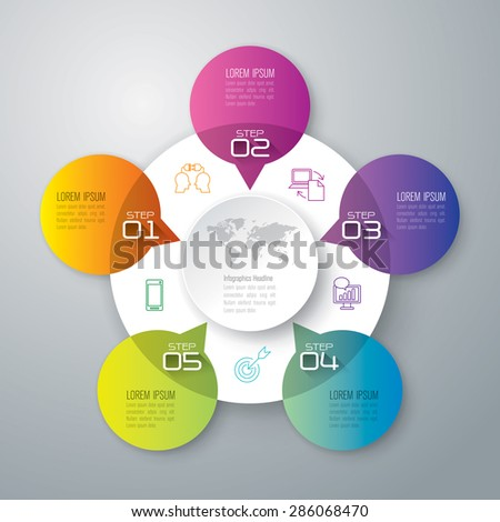 Info graphic design template and marketing icons, Business concept with 5 options, parts, steps or processes. Can be used for workflow layout, diagram, number options, web design.    - stock vector