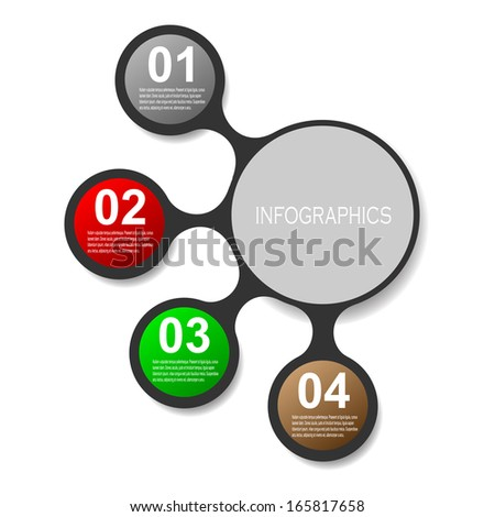 Info-graphic design template with paper tags. Idea to display information, ranking and statistics with original and modern style.  - stock vector