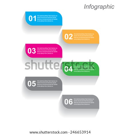 Info-graphic design template with paper tags. Idea to display, ranking and statistics. - stock vector