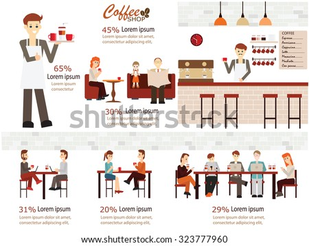 Info graphic of coffee shop . Barista with cup of coffee, man and women meeting in coffee shop, man dating with woman, waitress, working man, friend, family. vector illustration. - stock vector