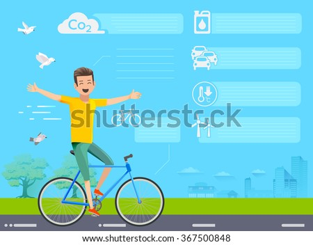 Info-graphic of cycling for the environment.Good environment if everyone used bikes on the road.World green and bicycles.The embrace of nature.Fresh air at park.Graphic design and vector EPS 10. - stock vector