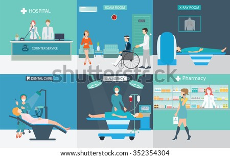 Info graphic of Medical services with doctors and patients in hospitals, dental care, x-ray, emergency, pharmacy, health care conceptual vector illustration. - stock vector