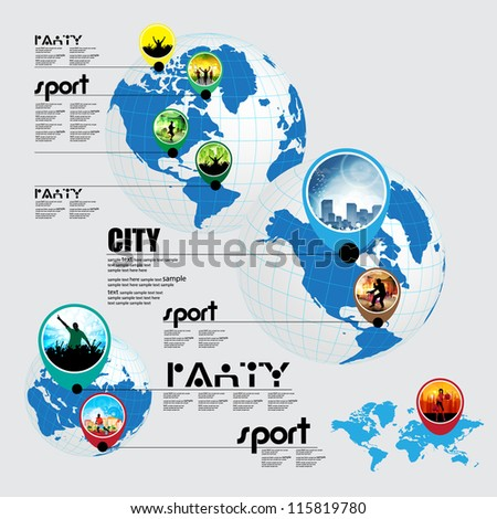 Info graphic of music, sport and shopping on the world - stock vector