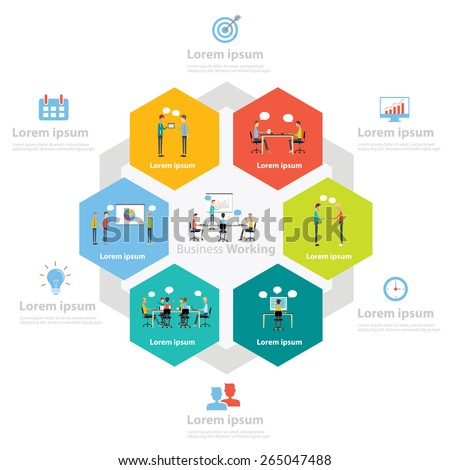 info-graphic people business marketing  working process concept.business cartoon character - stock vector