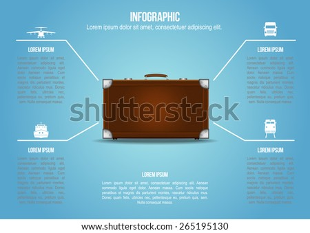 Info graphic Suitcase with freight transportation  - stock vector