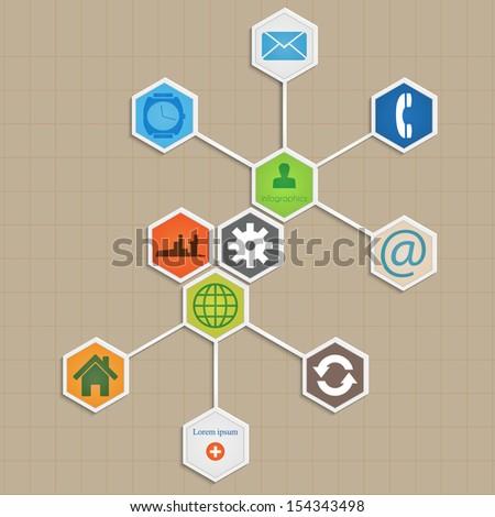 Info-graphic template design -  hexagon vector  background. - stock vector