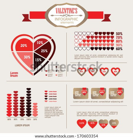 Info Graphic Valentine elements, vector illustration - stock vector