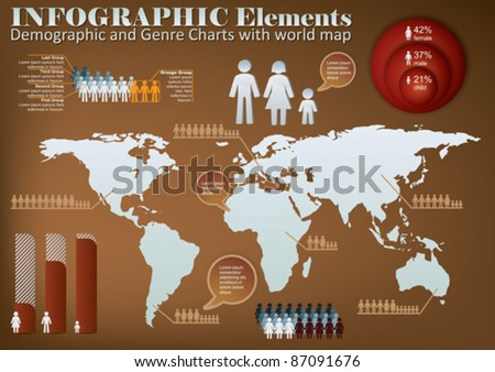 Info graphic with demographic elements and map - stock vector