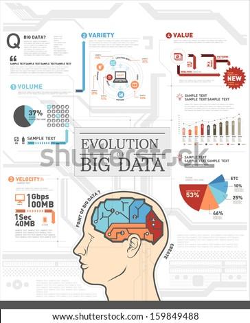 info graphics IT big data - stock vector