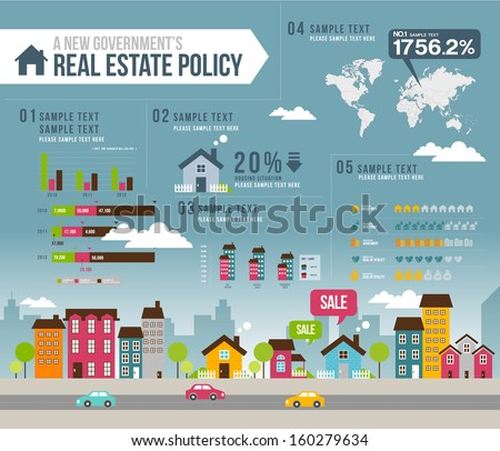 info graphics real estate - stock vector