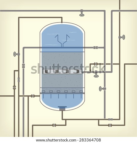 Info graphics scheme with a liquid, a water tank, pipes, water purification, filter - stock vector