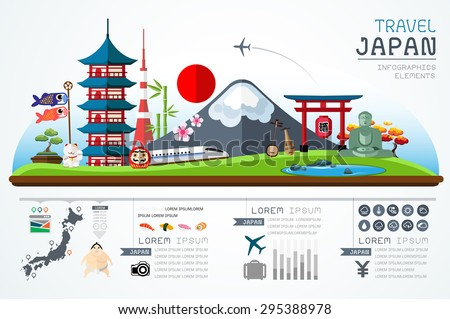 Info graphics travel and landmark japan template design. Concept Vector Illustration  - stock vector