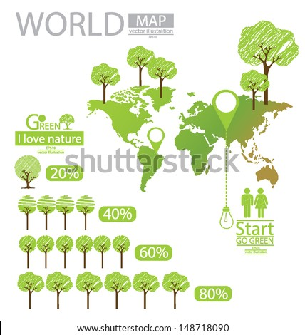 info graphics. Tree. Sketch. Go green. World Map vector Illustration. - stock vector