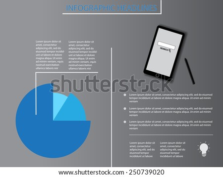 info-graphics with two sides, diagram and phone - stock vector
