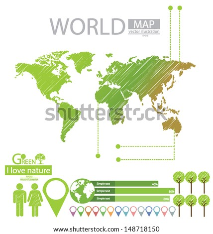 info graphics. woman. man. Tree. Sketch. Go green. World Map vector Illustration.