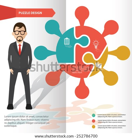 Info puzzle info graphic design and character,clean vector - stock vector