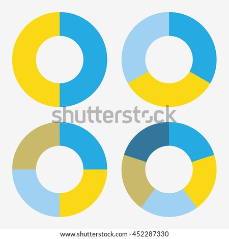 info template pie blue and yellow charts with 2, 3, 4, 5 steps