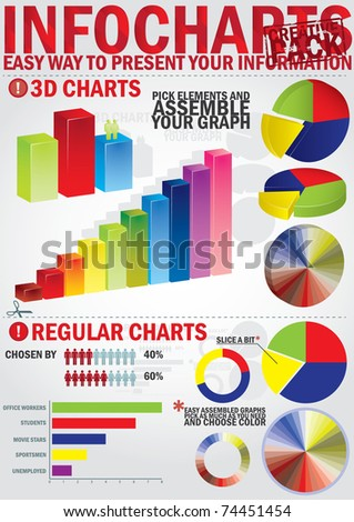 Infochart creative pack. Easy assembling elements for presentation and graph - stock vector