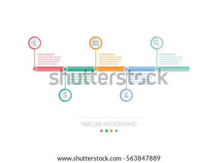 infograph template timeline info graphic vector のベクター画像素材