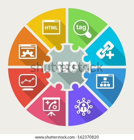 Infographic about Search Engine Optimization process, icons flat colorful - stock vector