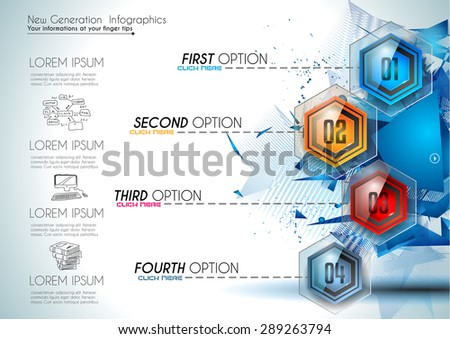 Infographic Abstract template with 4 choices glass buttons with shiny effect. Ideal for marketing and printed material, product classifications, ranking, business solutions - stock vector