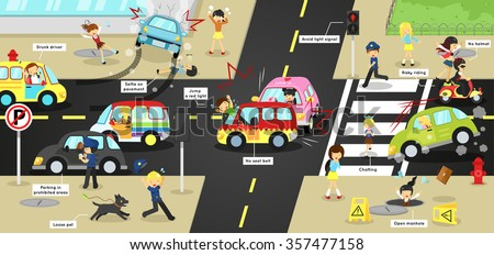Infographic accidents, injuries, danger and safety on traffic road vehicles cause by cars bicycle and careless people on city street with sign and symbol in cute funny cartoon concept for kids(vector) - stock vector
