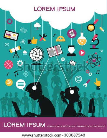 Infographic background concept of online education. Silhouettes of young people with online education icons. - stock vector