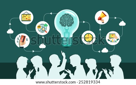 Infographic background. Vector. Business people group over conceptual. Silhouettes of people on a background of business icons. Office workers and business team. Mind Map Team.  - stock vector