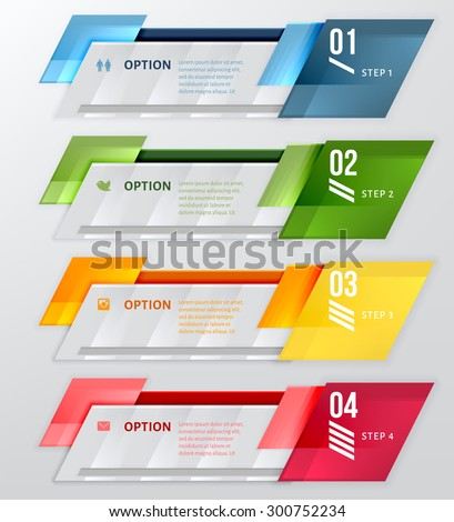 Infographic banner. Horizontal design number banners template. Can be used for workflow layout, diagram, number options, web design. - stock vector